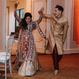 Indian wedding in Chicago venue. Decorations are available in-house.